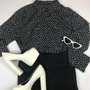 Ann Taylor Polkadot High Neck Button Up Dress Top